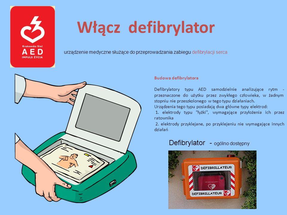 Włącz defibrylator urządzenie medyczne służące do przeprowadzania zabiegu defibrylacji serca