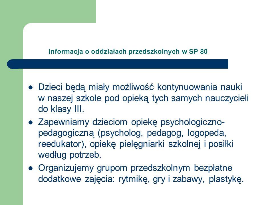 Informacja o oddziałach przedszkolnych w SP 80