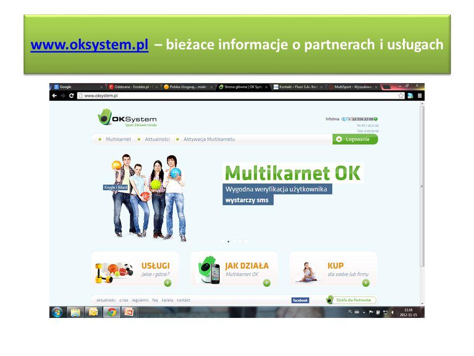 www.oksystem.pl – bieżace informacje o partnerach i usługach