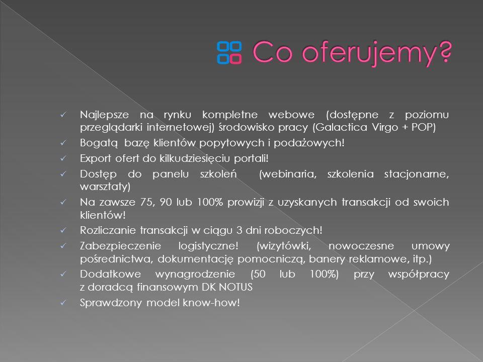 Co oferujemy Najlepsze na rynku kompletne webowe (dostępne z poziomu przeglądarki internetowej) środowisko pracy (Galactica Virgo + POP)