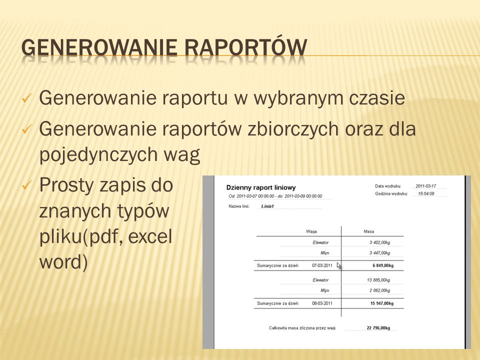 Generowanie Raportów Generowanie raportu w wybranym czasie
