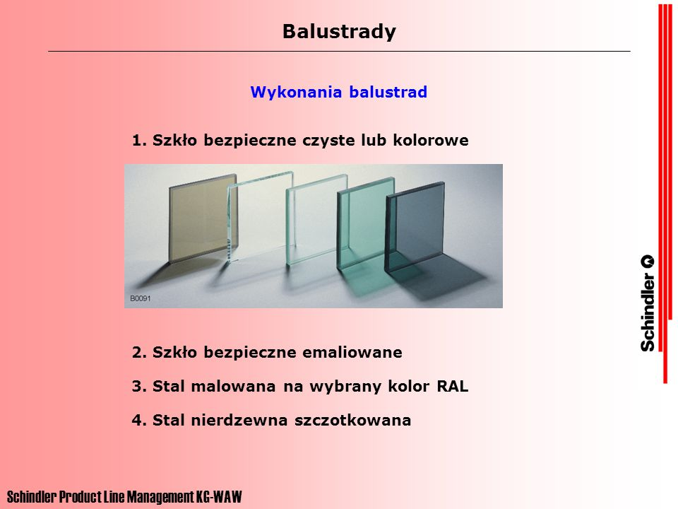 Balustrady Schindler Product Line Management KG-WAW