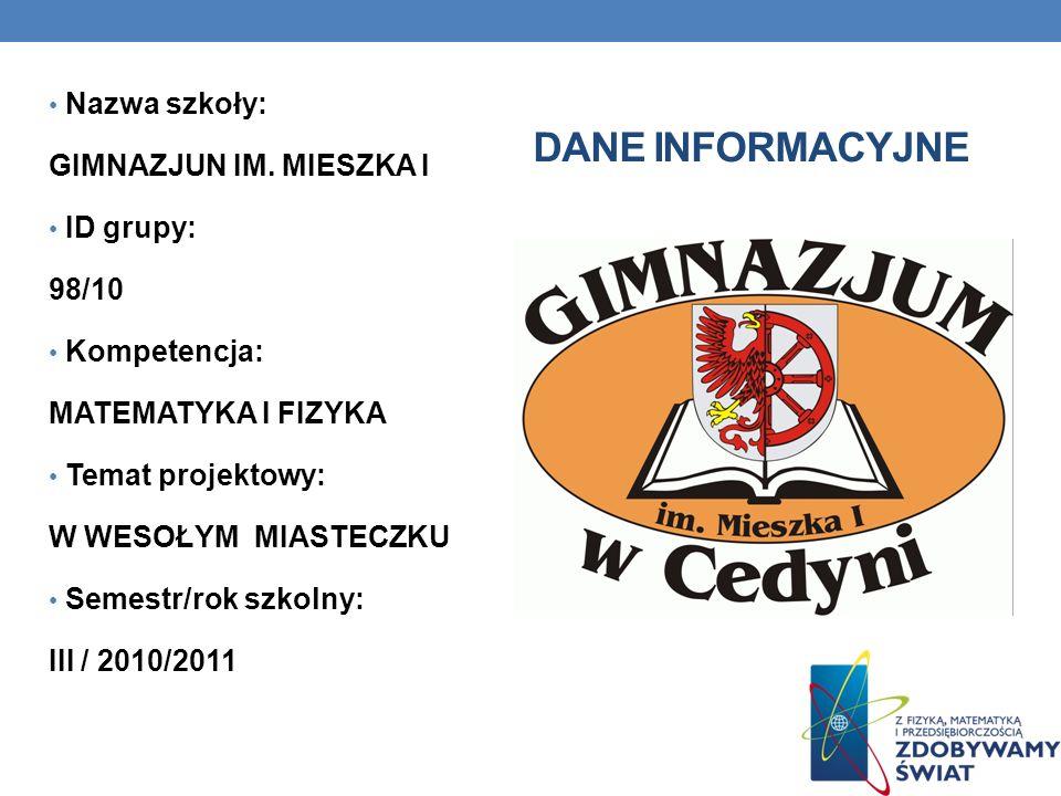 Dane INFORMACYJNE Nazwa szkoły: GIMNAZJUN IM. MIESZKA I ID grupy: