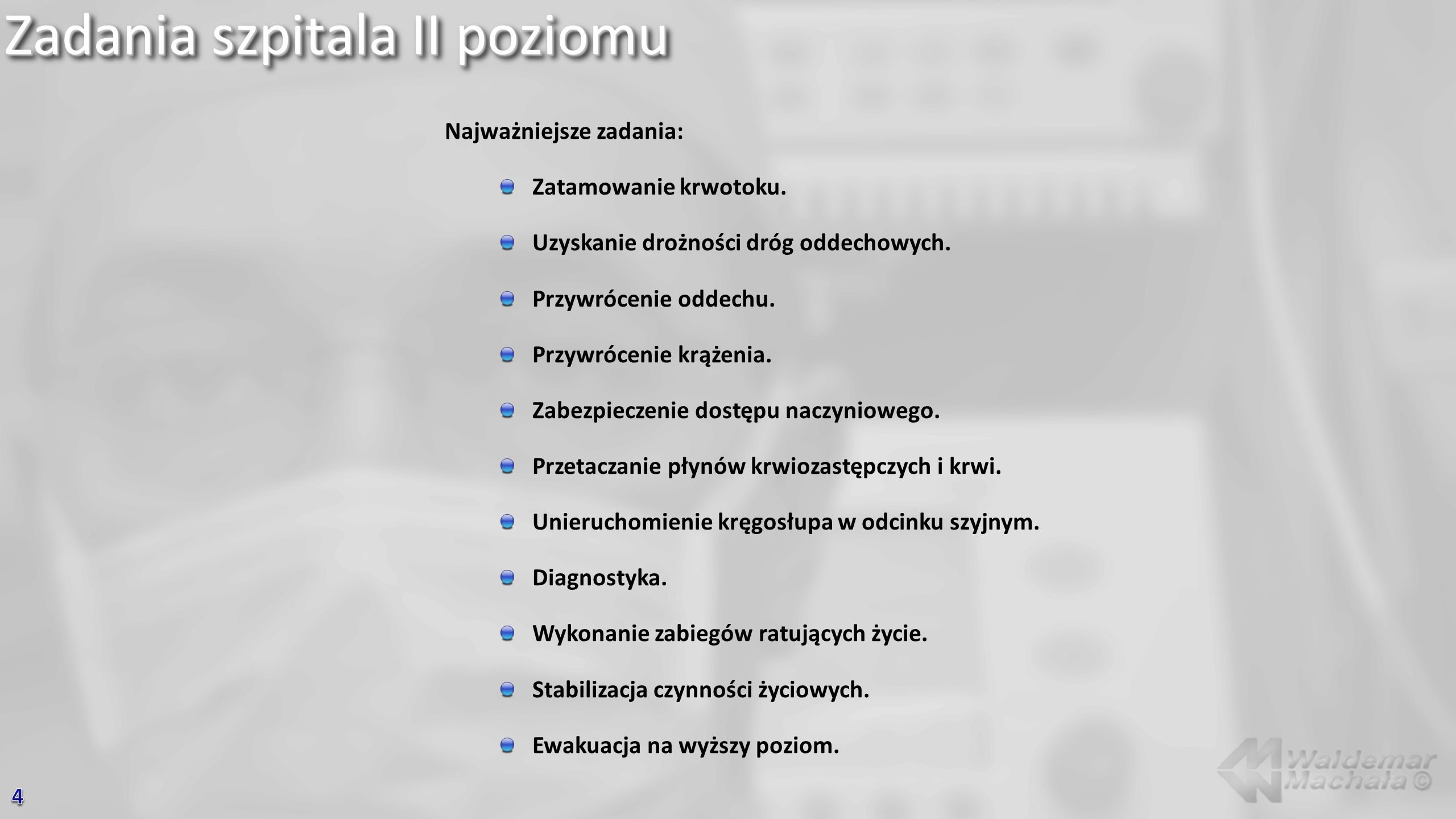 Zadania szpitala II poziomu