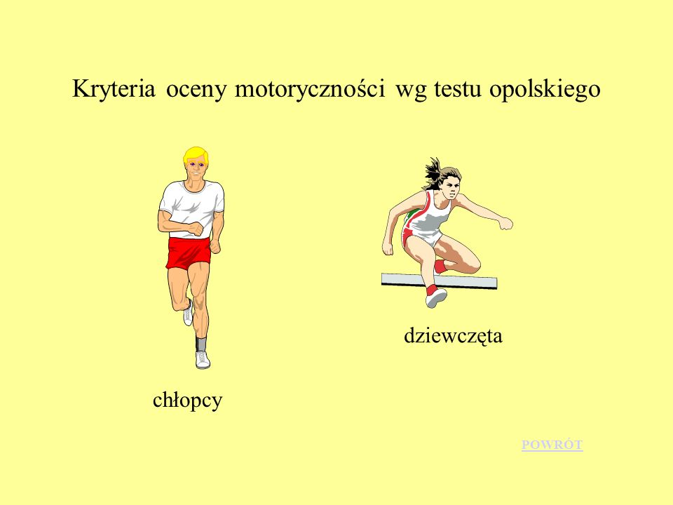 Kryteria oceny motoryczności wg testu opolskiego