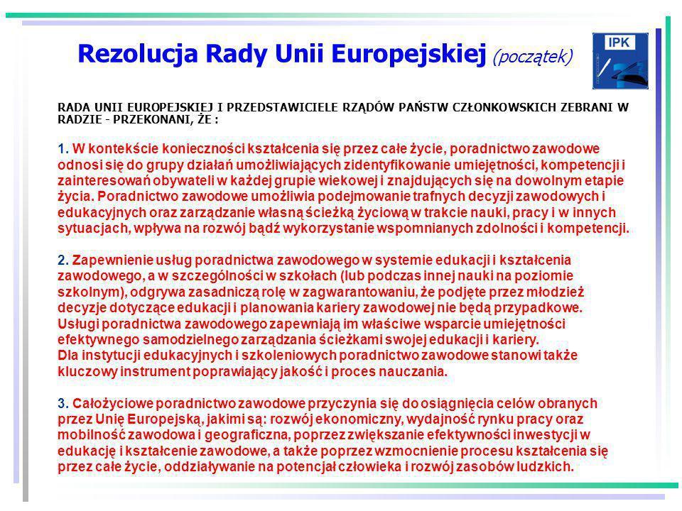 Rezolucja Rady Unii Europejskiej (początek)