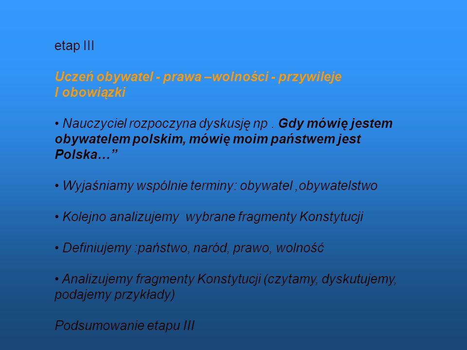 etap III Uczeń obywatel - prawa –wolności - przywileje. I obowiązki.