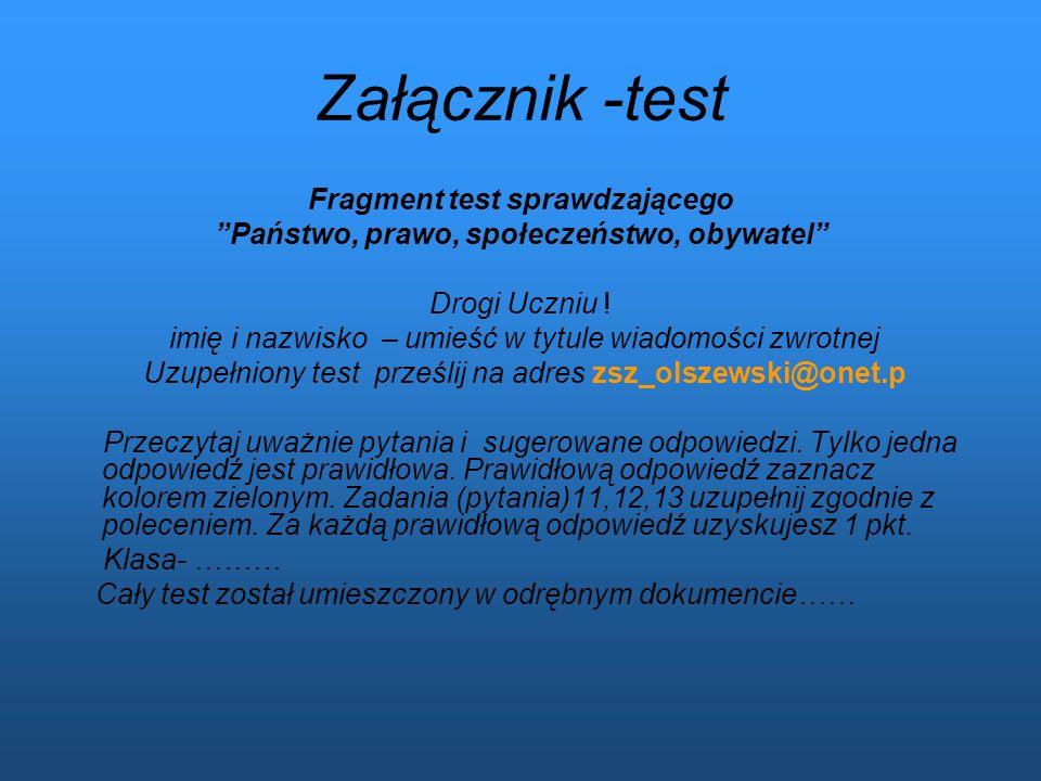 Fragment test sprawdzającego Państwo, prawo, społeczeństwo, obywatel