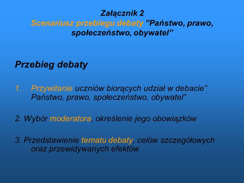 Załącznik 2 Scenariusz przebiegu debaty Państwo, prawo, społeczeństwo, obywatel