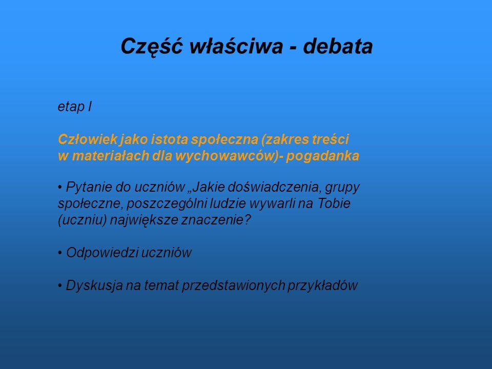Część właściwa - debata