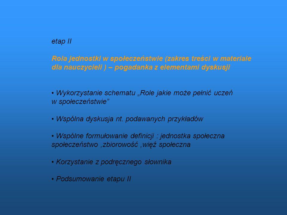 etap II Rola jednostki w społeczeństwie (zakres treści w materiale dla nauczycieli ) – pogadanka z elementami dyskusji.