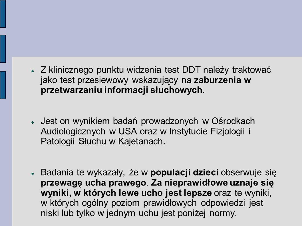 Z klinicznego punktu widzenia test DDT należy traktować jako test przesiewowy wskazujący na zaburzenia w przetwarzaniu informacji słuchowych.