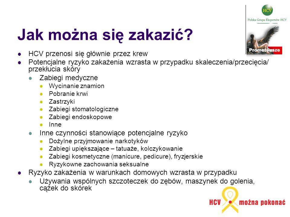 Jak można się zakazić HCV przenosi się głównie przez krew