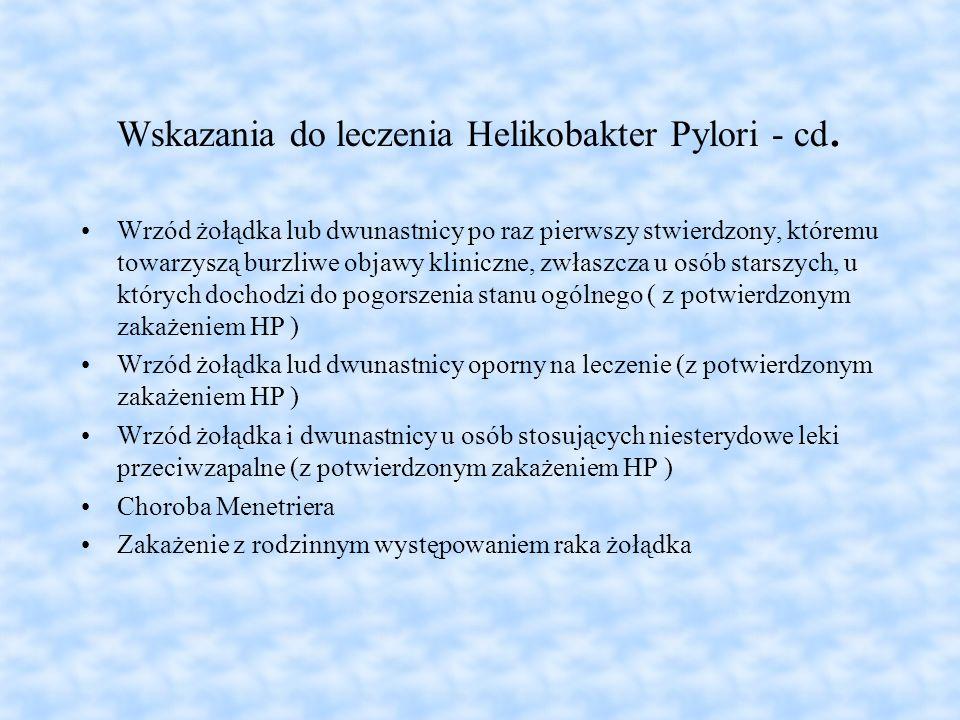 Wskazania do leczenia Helikobakter Pylori - cd.