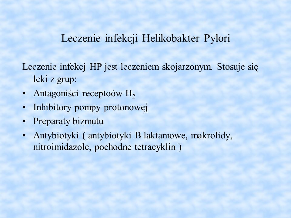 Leczenie infekcji Helikobakter Pylori