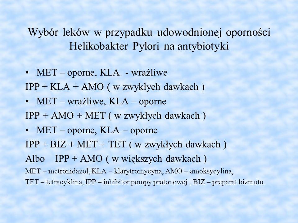 Wybór leków w przypadku udowodnionej oporności Helikobakter Pylori na antybiotyki