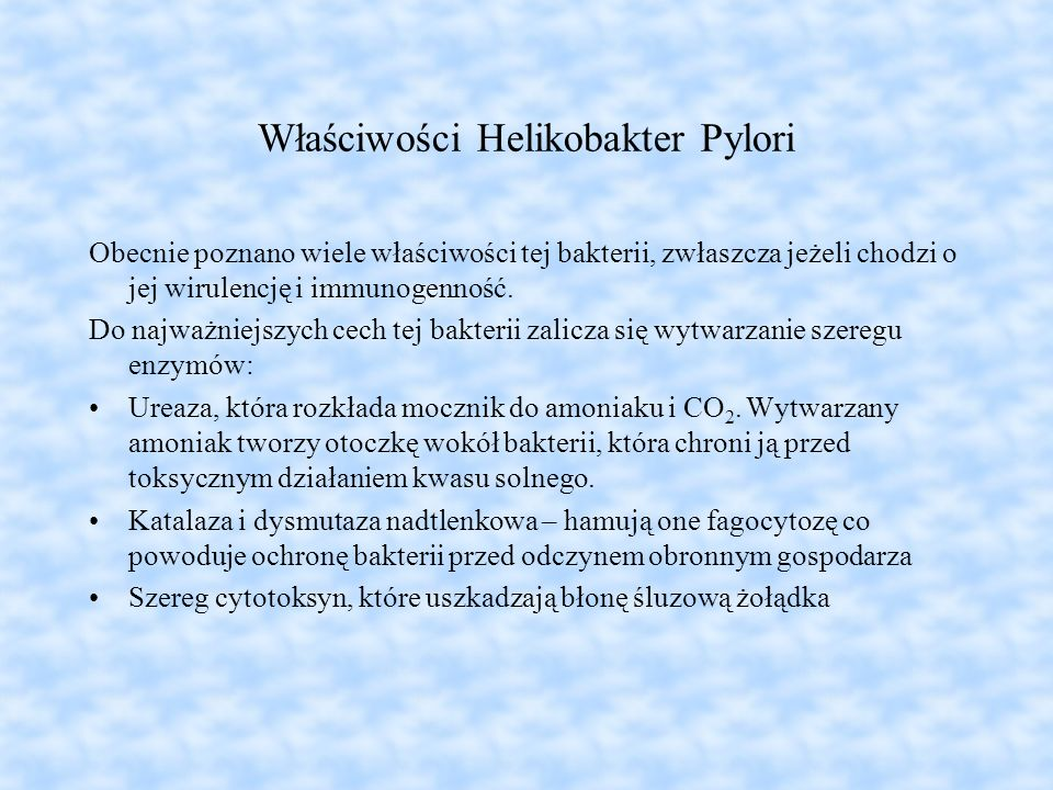 Właściwości Helikobakter Pylori