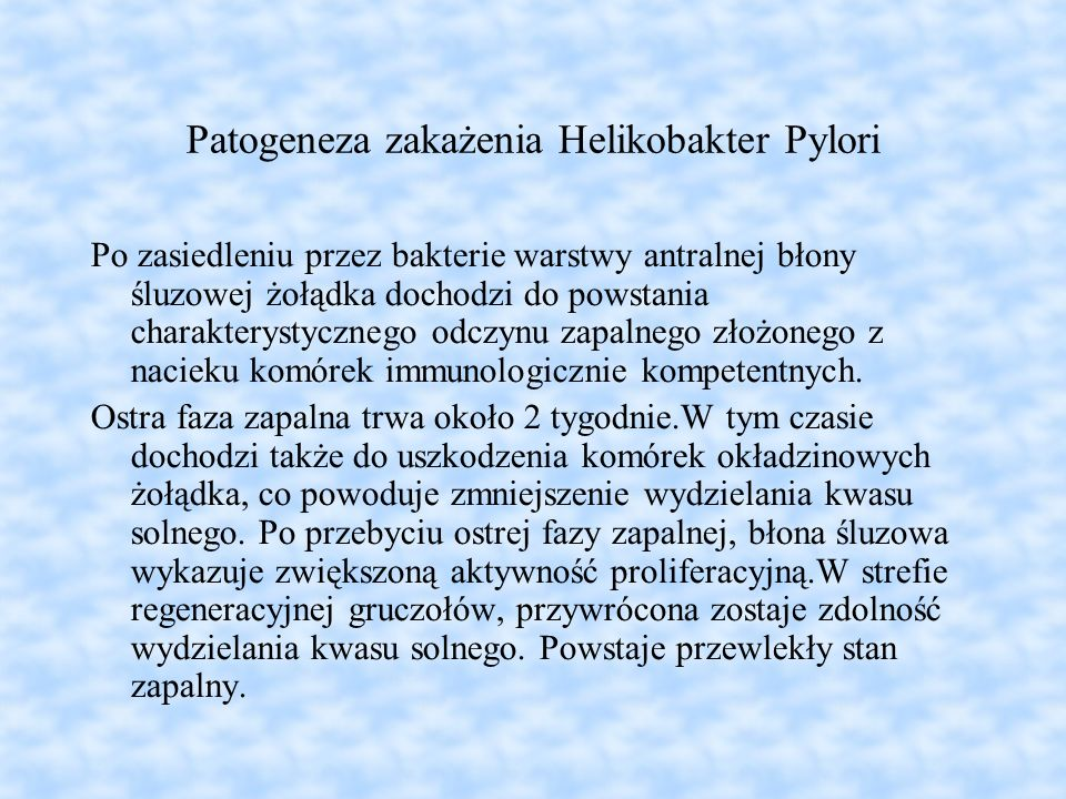 Patogeneza zakażenia Helikobakter Pylori