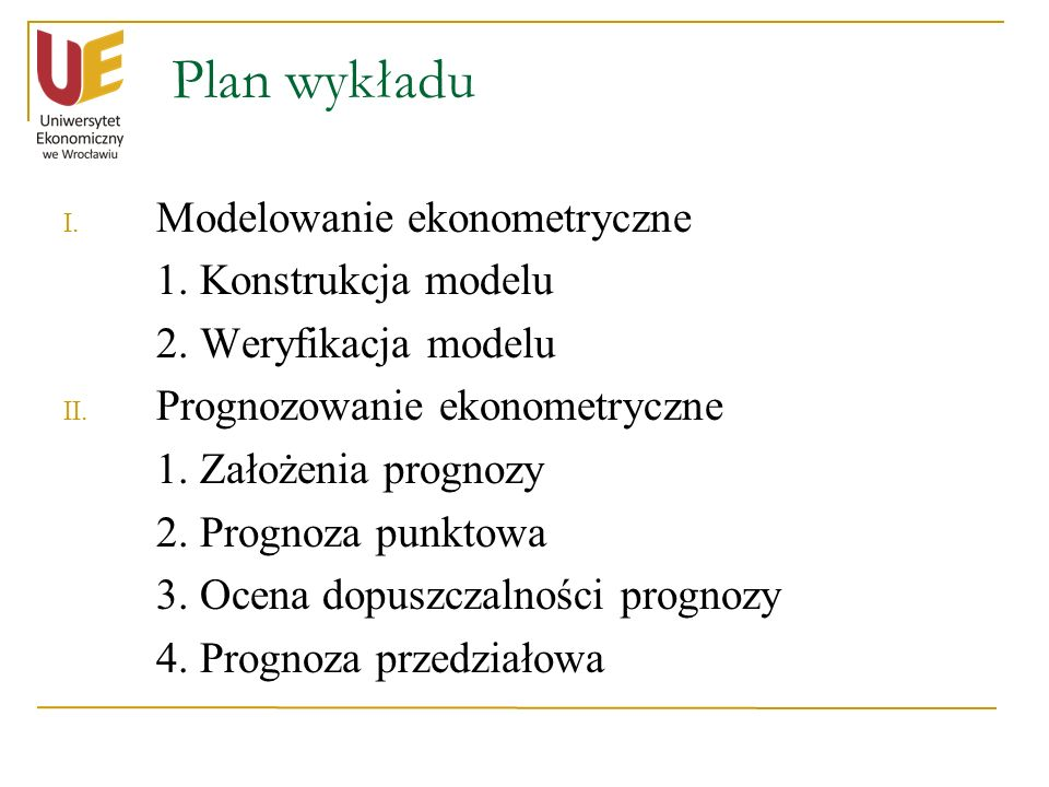 Plan wykładu Modelowanie ekonometryczne 1. Konstrukcja modelu