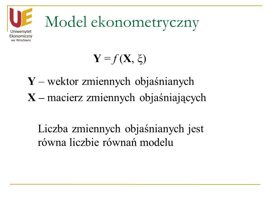 Model ekonometryczny Y = f (X, ξ) Y – wektor zmiennych objaśnianych