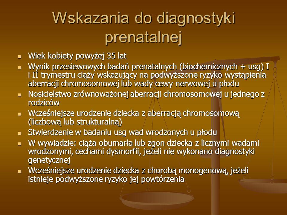 Wskazania do diagnostyki prenatalnej