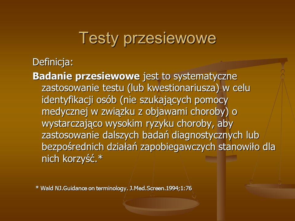 Testy przesiewowe Definicja: