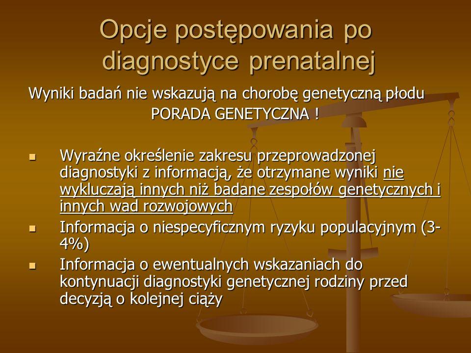 Opcje postępowania po diagnostyce prenatalnej