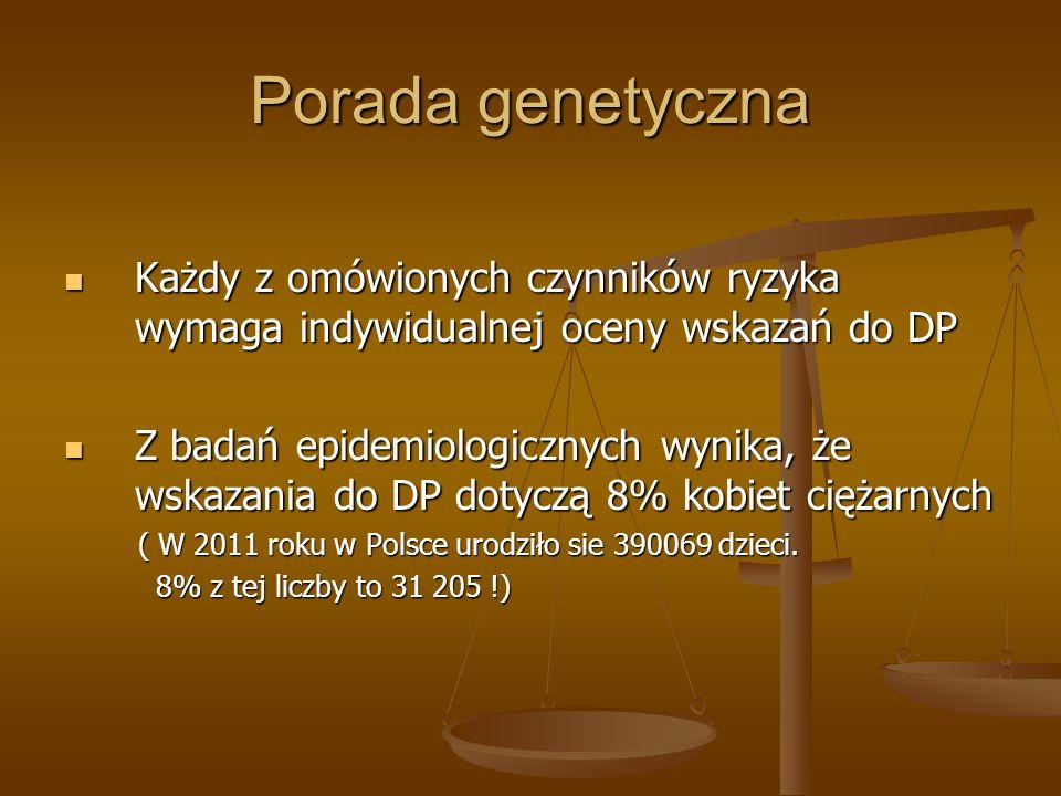 Porada genetyczna Każdy z omówionych czynników ryzyka wymaga indywidualnej oceny wskazań do DP.