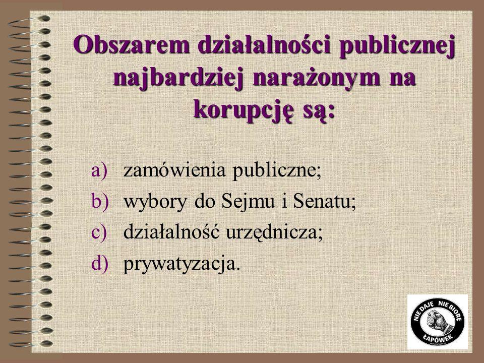 Obszarem działalności publicznej najbardziej narażonym na korupcję są: