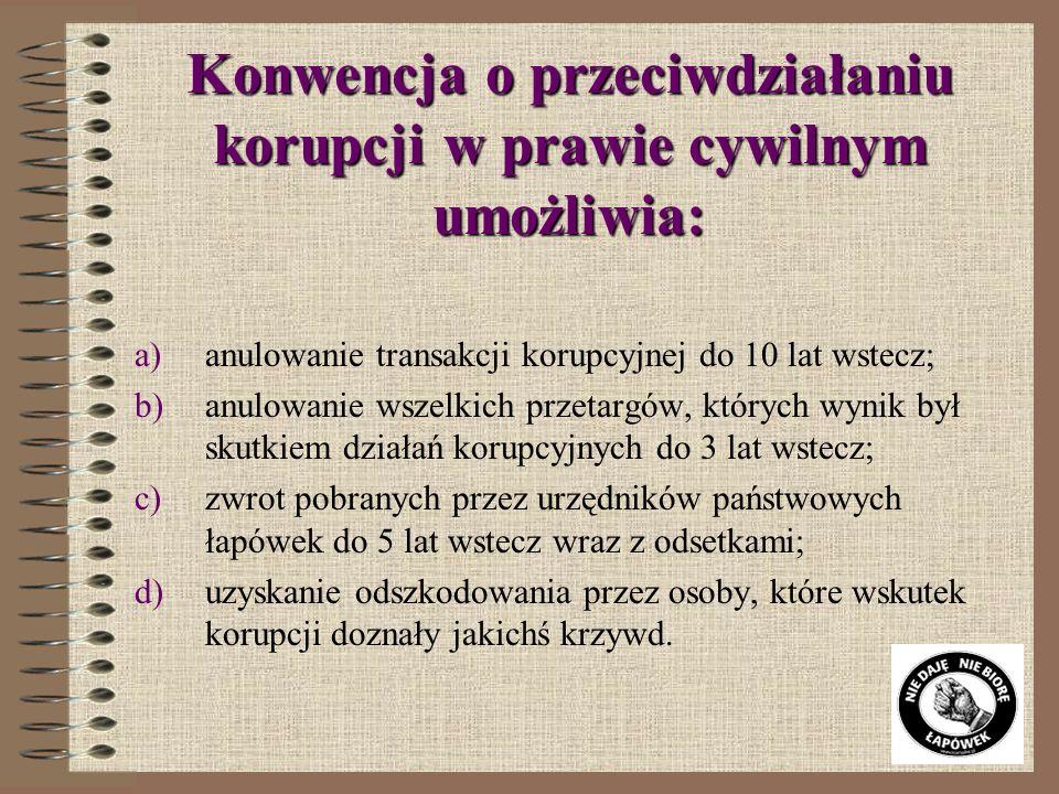 Konwencja o przeciwdziałaniu korupcji w prawie cywilnym umożliwia: