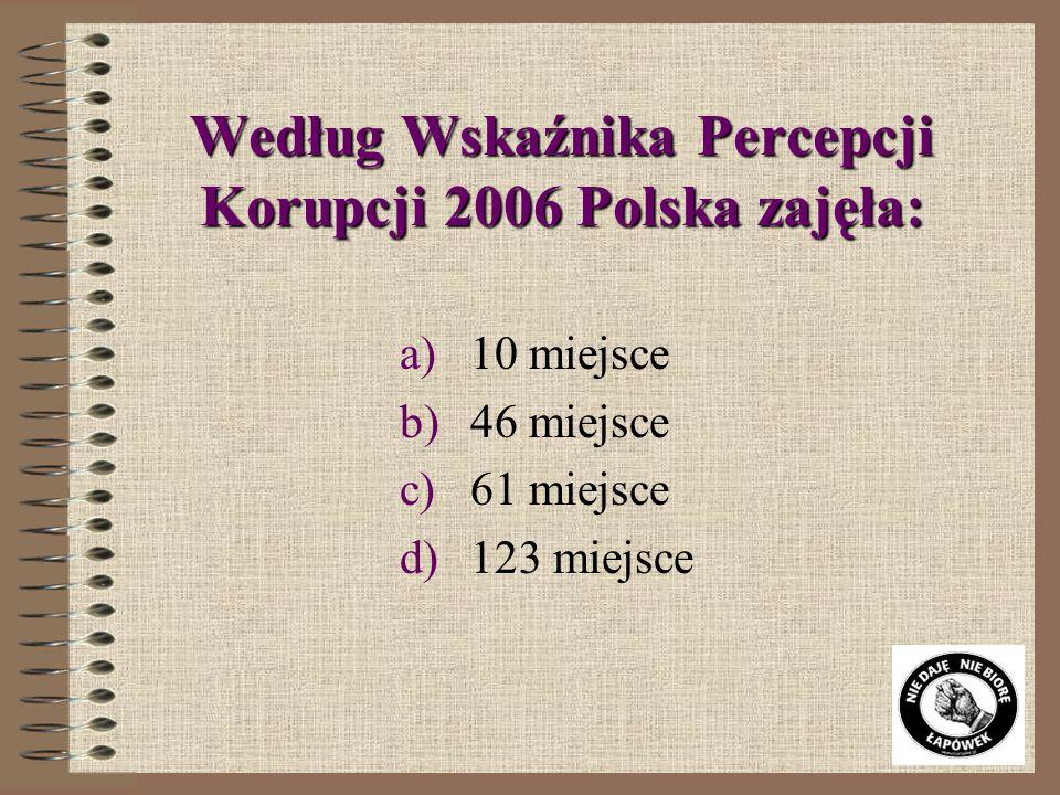 Według Wskaźnika Percepcji Korupcji 2006 Polska zajęła: