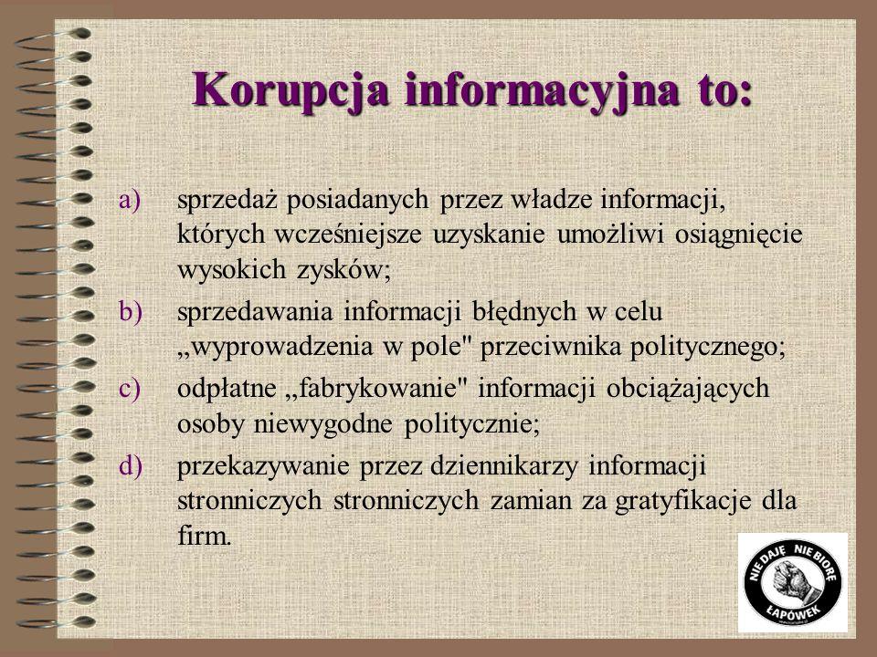 Korupcja informacyjna to:
