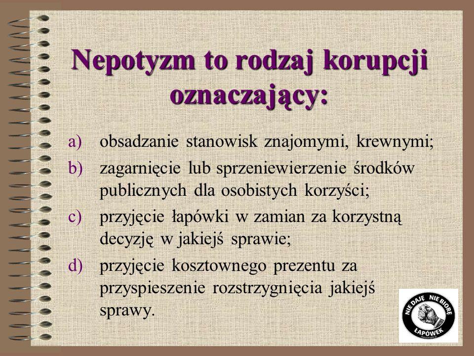 Nepotyzm to rodzaj korupcji oznaczający: