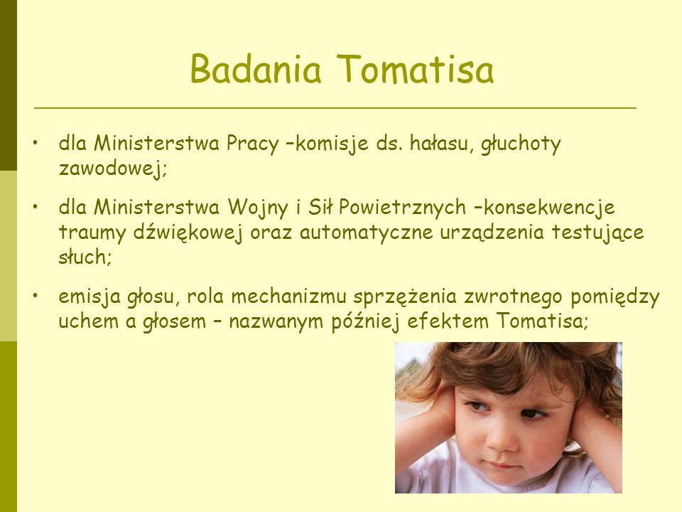 Badania Tomatisa dla Ministerstwa Pracy –komisje ds. hałasu, głuchoty zawodowej;