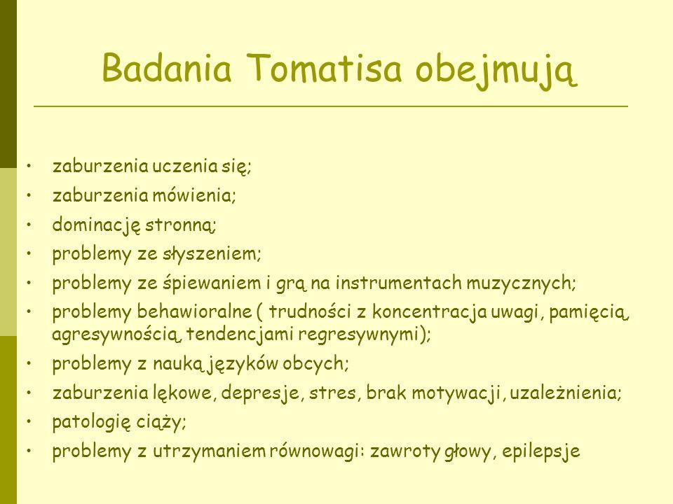 Badania Tomatisa obejmują