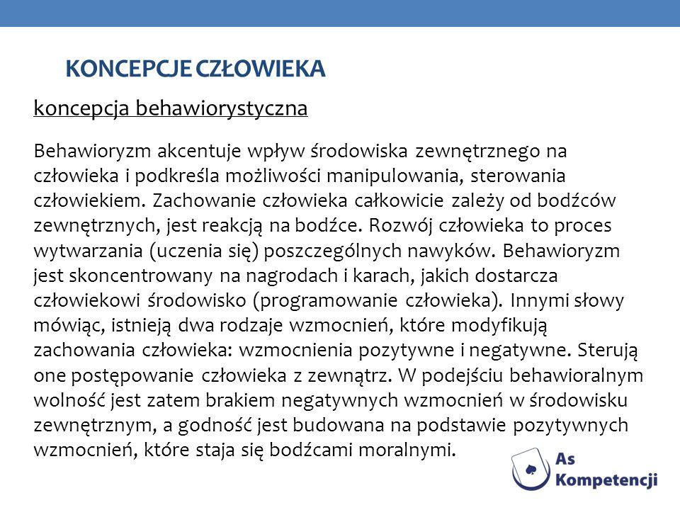 koncepcje człowieka koncepcja behawiorystyczna