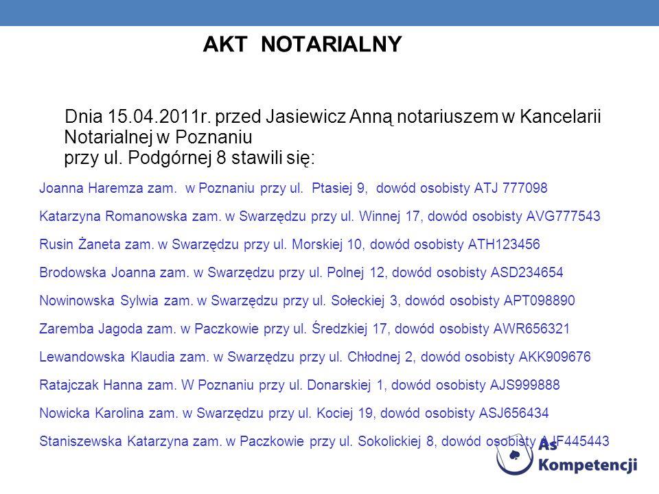 AKT NOTARIALNY Dnia 15.04.2011r. przed Jasiewicz Anną notariuszem w Kancelarii Notarialnej w Poznaniu przy ul. Podgórnej 8 stawili się: