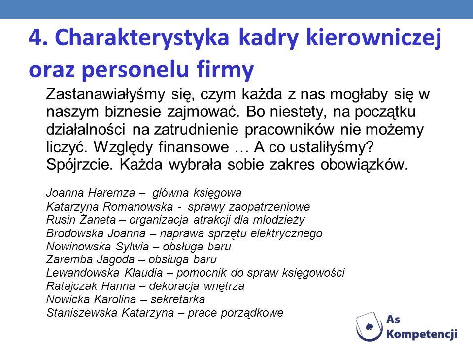 4. Charakterystyka kadry kierowniczej oraz personelu firmy