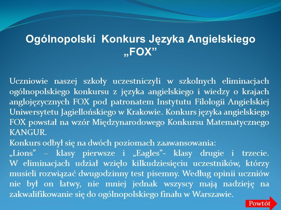 """Ogólnopolski Konkurs Języka Angielskiego """"FOX"""