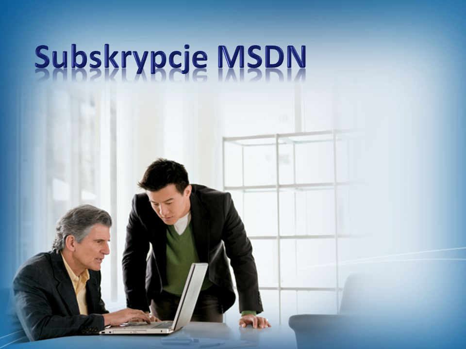 Subskrypcje MSDN Slide Overview: Introductory slide to the section