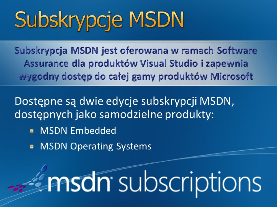 Subskrypcje MSDN