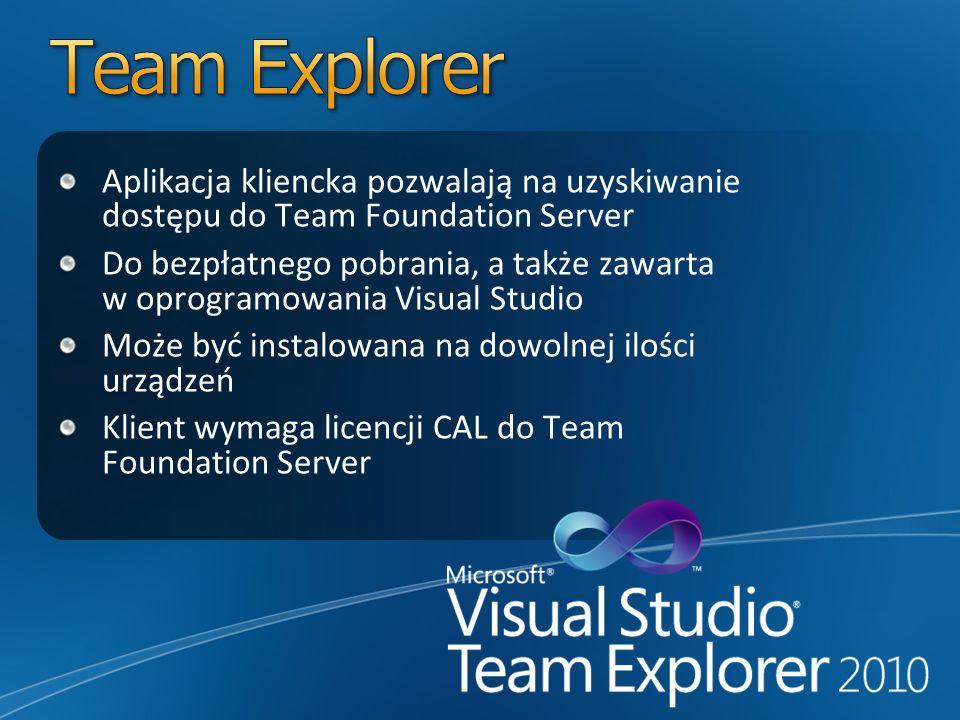 Team Explorer Aplikacja kliencka pozwalają na uzyskiwanie dostępu do Team Foundation Server.