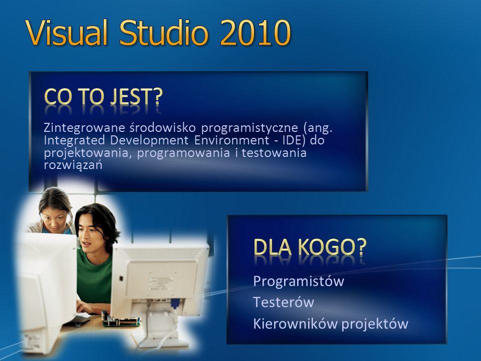 Visual Studio 2010 CO TO JEST DLA KOGO Programistów Testerów