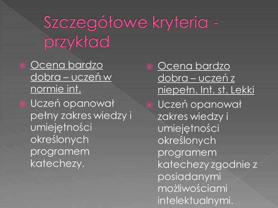 Szczegółowe kryteria - przykład