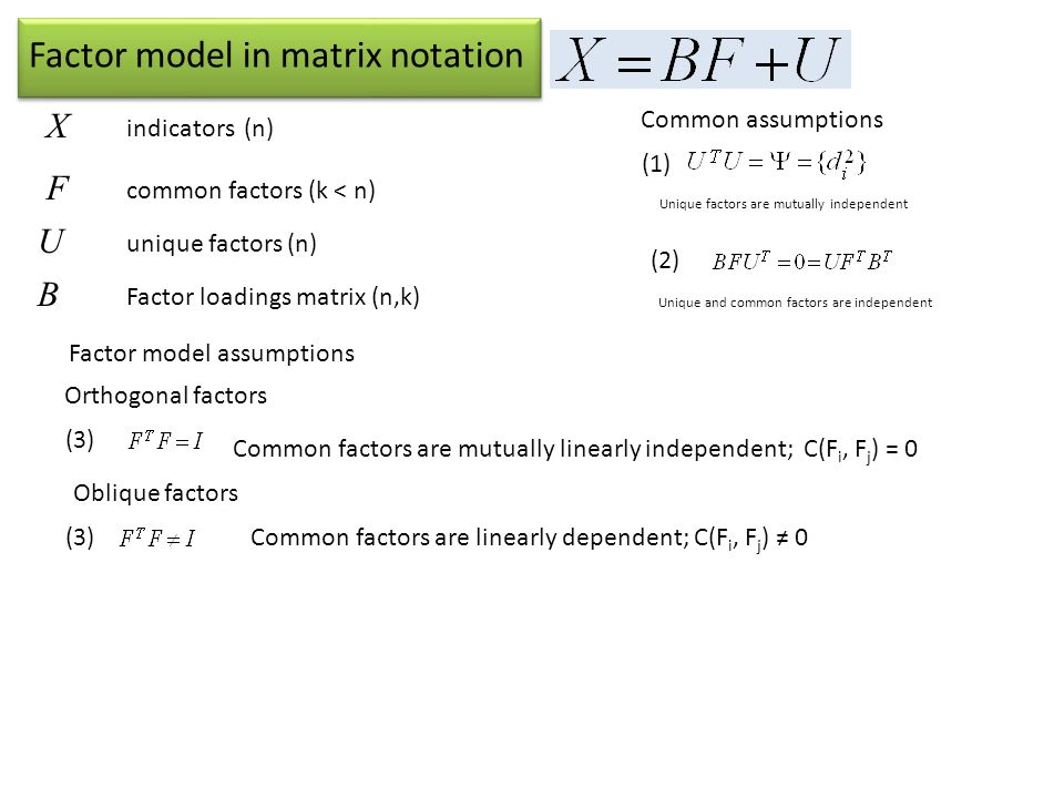 Factor model in matrix notation