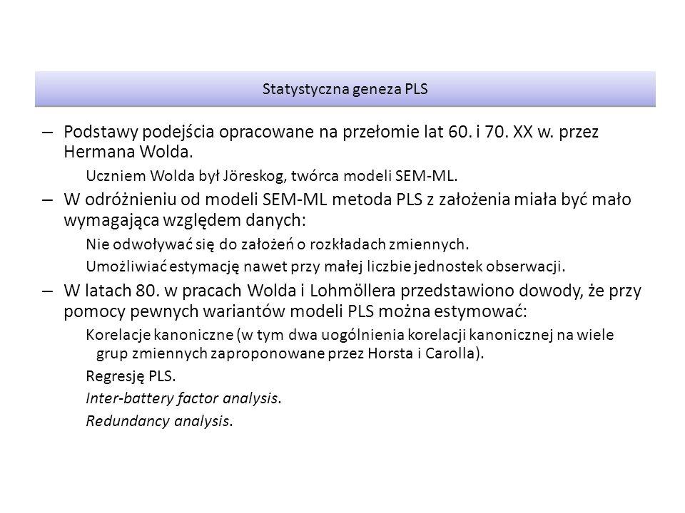 Statystyczna geneza PLS