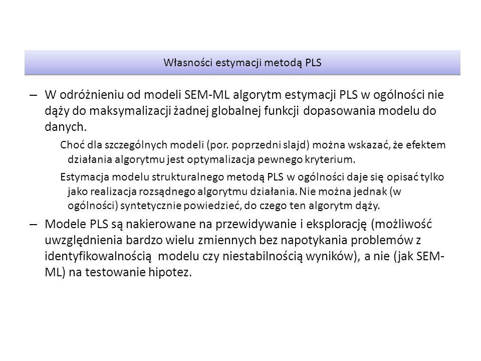 Własności estymacji metodą PLS