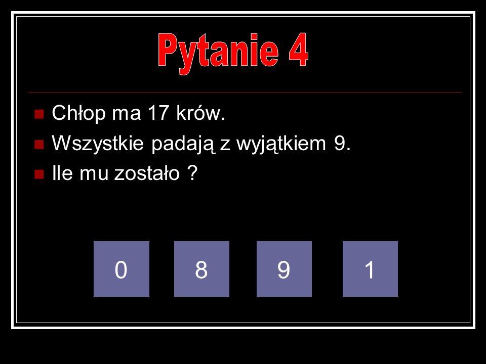 Pytanie 4 8 9 1 Chłop ma 17 krów. Wszystkie padają z wyjątkiem 9.