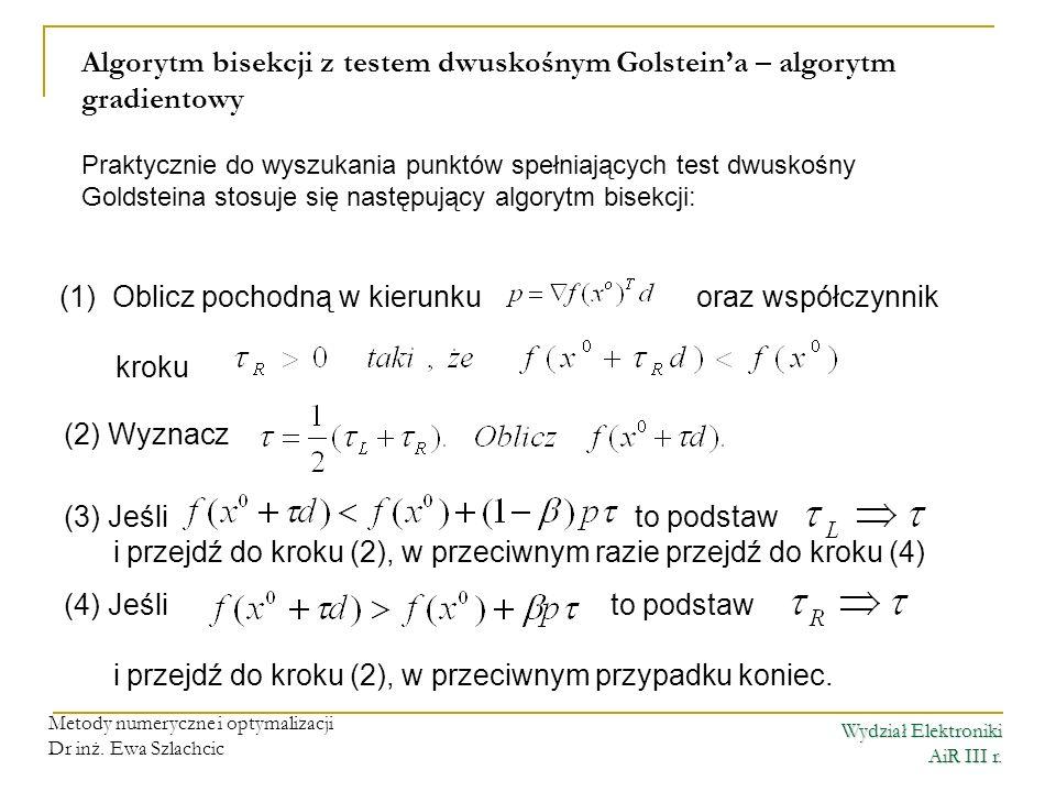 Algorytm bisekcji z testem dwuskośnym Golstein'a – algorytm gradientowy
