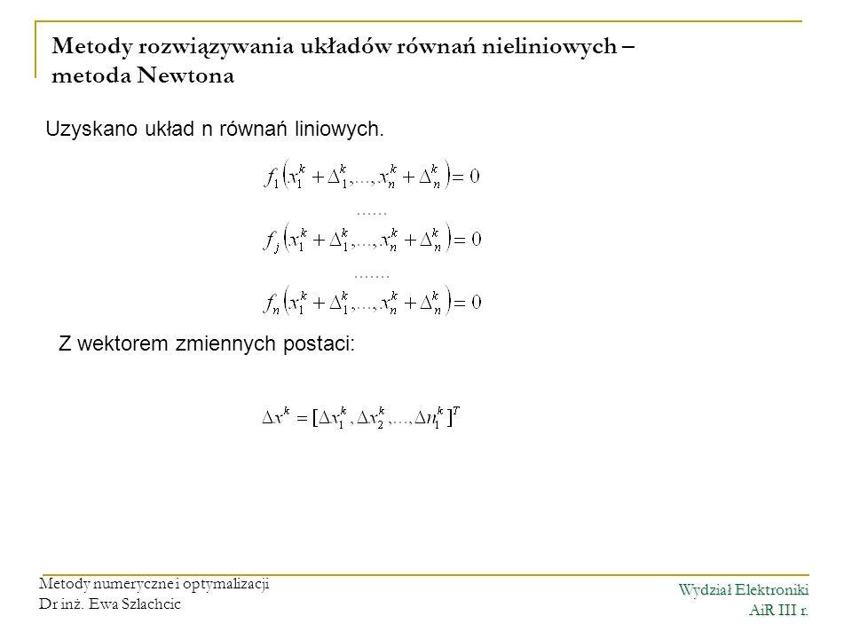 Metody rozwiązywania układów równań nieliniowych – metoda Newtona